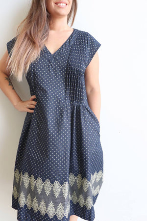 Beautiful quality polished cotton with a denim look and lace print detail