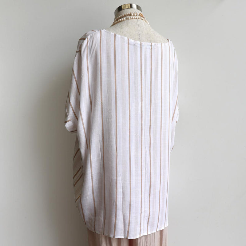Linen/Cotton blend stripe blouse in relaxed, oversized design from our Coastal Collection. Natural.