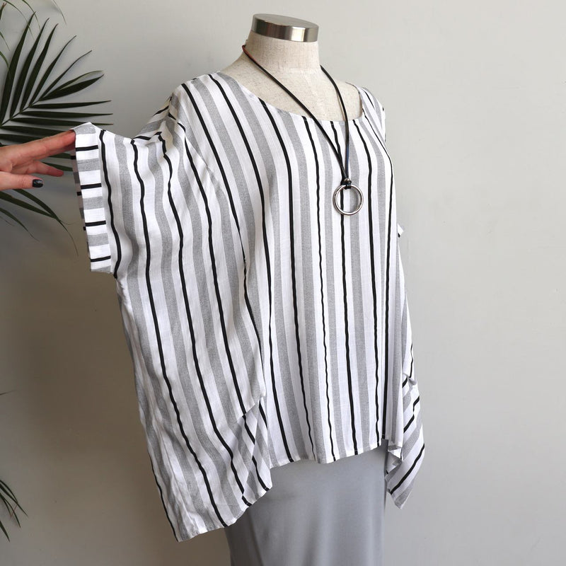 Linen/Cotton blend stripe blouse in relaxed, oversized design from our Coastal Collection.