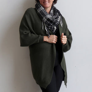 Akakura Batwing Cardigan is a winter knit jacket. Khaki Green. Front View.