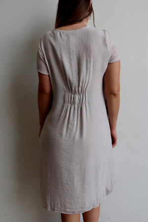 All Seasons Pocket Smock Dress with short sleeves in neutral moonshine colour cotton blend fabric. Plus size available.