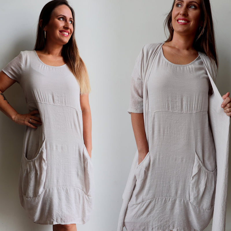 17149c6c1a6af1 All Seasons Pocket Smock Dress with short sleeves in neutral moonshine  colour cotton blend fabric.