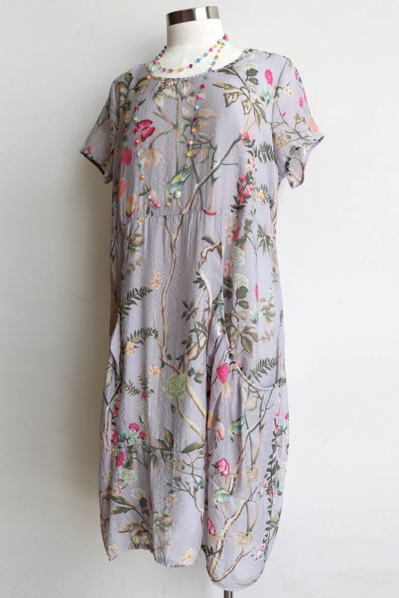 All Seasons Pocket Smock - Short Sleeve - Floral Cotton