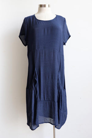 All Seasons Pocket Smock Dress with short sleeves in Navy colour cotton blend fabric. Plus size available