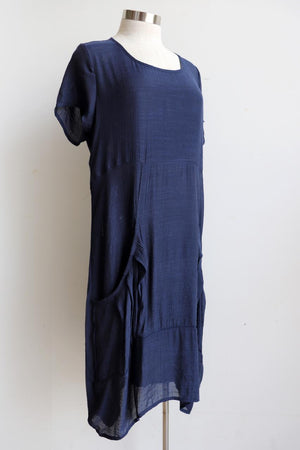 All Seasons Pocket Smock Dress with short sleeves in Navy colour cotton blend fabric. Plus size available.