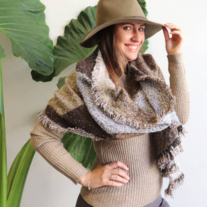 Alpine Knit Jumper - Beige - High neck ribbed knitwear winter basic sizes 10 to 18.