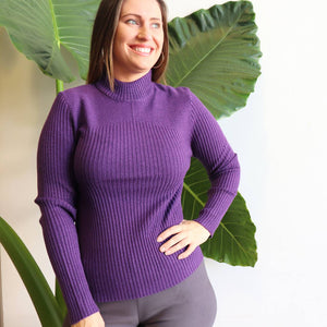 Alpine Knit Jumper - Purple - High neck ribbed knitwear winter basic sizes 10 to 18.