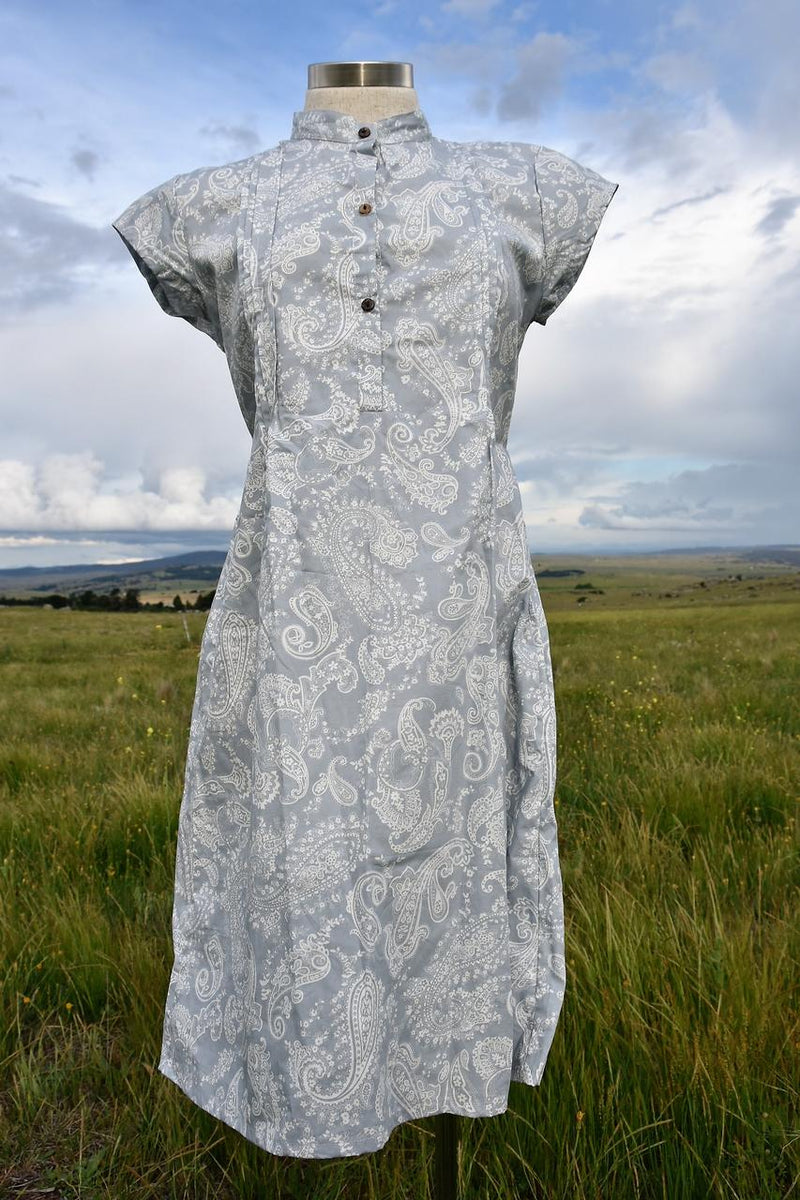 Anne Shirt Dress Silver Paisley Original Kobomo handmade cotton summer dress