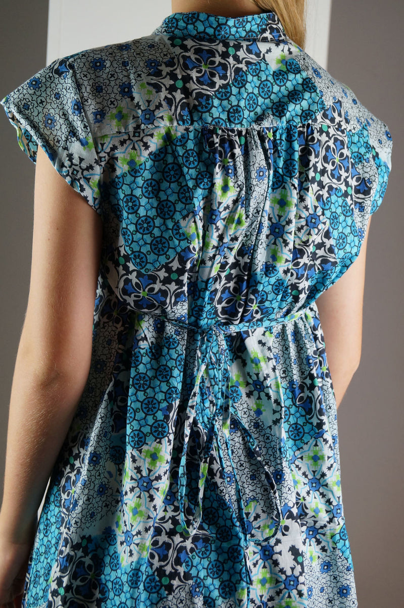 Anne Shirt Dress - Patchwork Blue