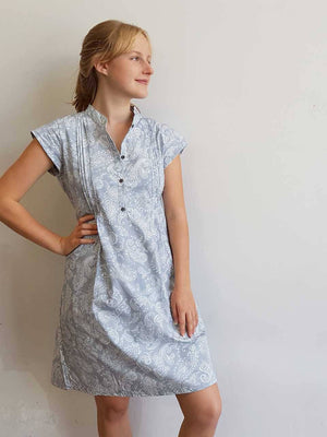 Anne Shirt Dress - Silver Paisley