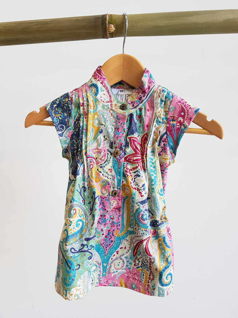 Annie Cotton Shirt Dress - Rainbow Paisley Kids and babies age 6 months to 12.