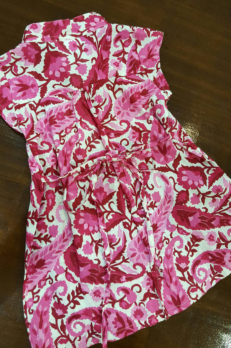 Little Annie girl's cotton shirt dress. Pink paisley. Sizes to fit 6 month old baby girl to 10 year old.