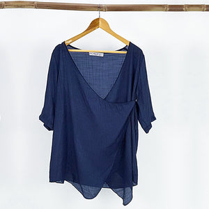 Lightweight Summer cardigan top. 'Any-which-way' semi-sheer fabric true to size buttoned cover-up. Sizes 8-22. Navy Blue.