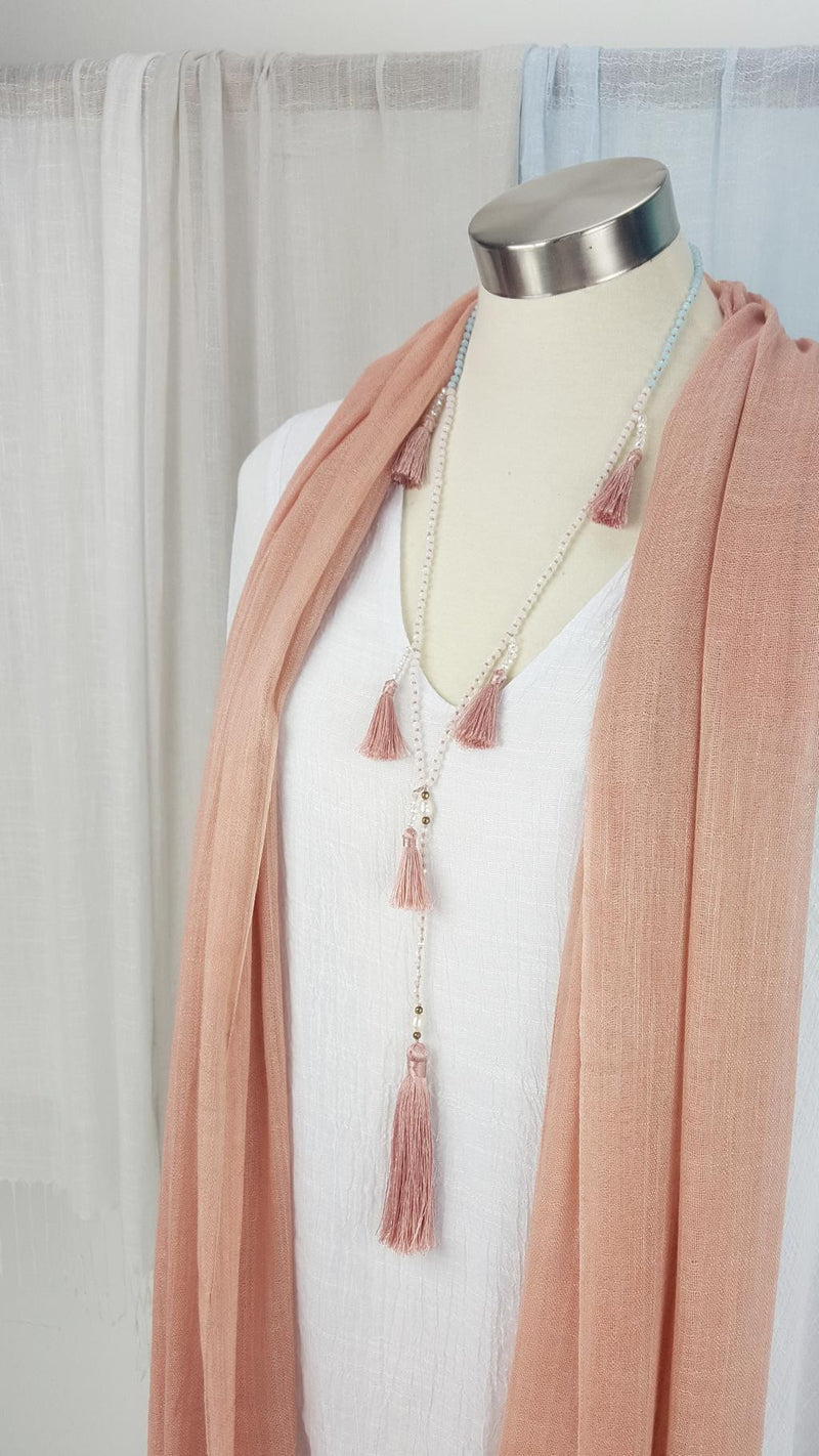 Stunning handmade multi-tassel long beaded necklace. Womens 20s style necklace. Blush Pink.