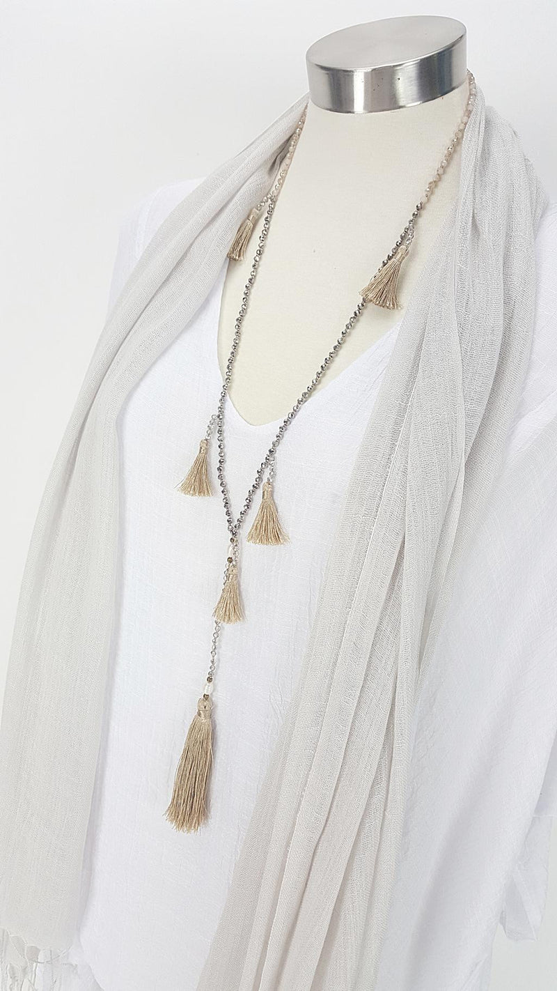 Stunning handmade multi-tassel long beaded necklace. Womens 20s style necklace. Gold.