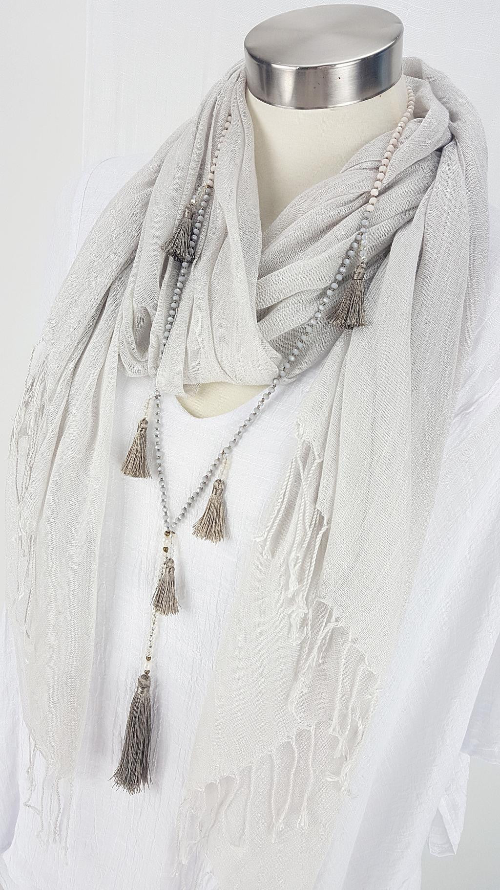 Stunning handmade multi-tassel long beaded necklace. Womens 20s style necklace. Mocha.