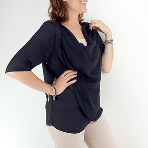 Lightweight Summer cardigan top. 'Any-which-way' sheer cover-up - Black.