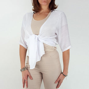 Lightweight Summer cardigan top. 'Any-which-way' sheer white cover-up. White.