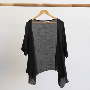 Lightweight Summer cardigan top. 'Any-which-way' semi-sheer fabric true to size buttoned cover-up. Sizes 8-22. Black.