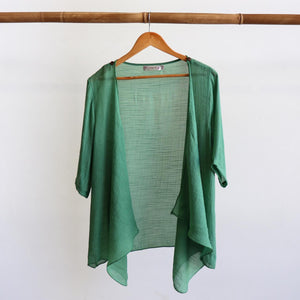 Lightweight Summer cardigan top. 'Any-which-way' semi-sheer fabric true to size buttoned cover-up. Sizes 8-22. Sage.