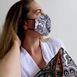 Anything Goes Washable Face Mask - Paisley Black and White