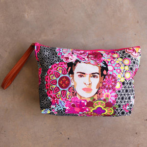 Clutch bag frida kahlo accessory makeup bag one size black