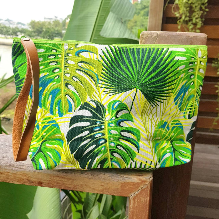 Anything Goes Clutch Bag - Tropical Leaves