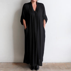 Apres Spa Kaftan Dress in classic black. Pockets long view..