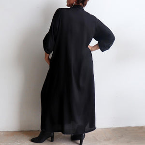 Apres Spa Kaftan Dress in classic black. Back view.