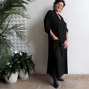 Apres Spa Kaftan Dress in classic black. Side view
