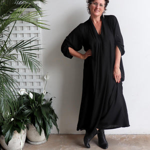 Apres Spa Kaftan Dress in classic black. Front view