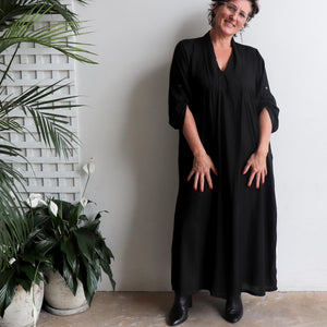 Apres Spa Kaftan Dress in classic black. Long view.