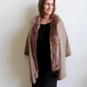 Faux-fur trimmed winter knit came made with wool/poly fibre in plus size fitting.