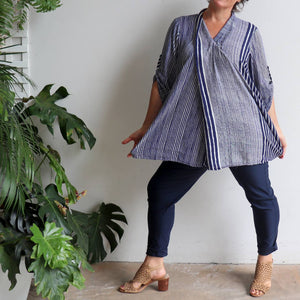 Apres Spa Kaftan Tunic Top in a modern navy blue stripe. Full length.