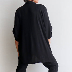 Apres Spa Kaftan Tunic Top in a classic black. Back view.