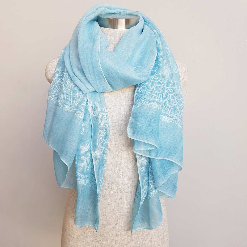 Athenian washed cotton scarf - embroidery + lightweight in aqua blue