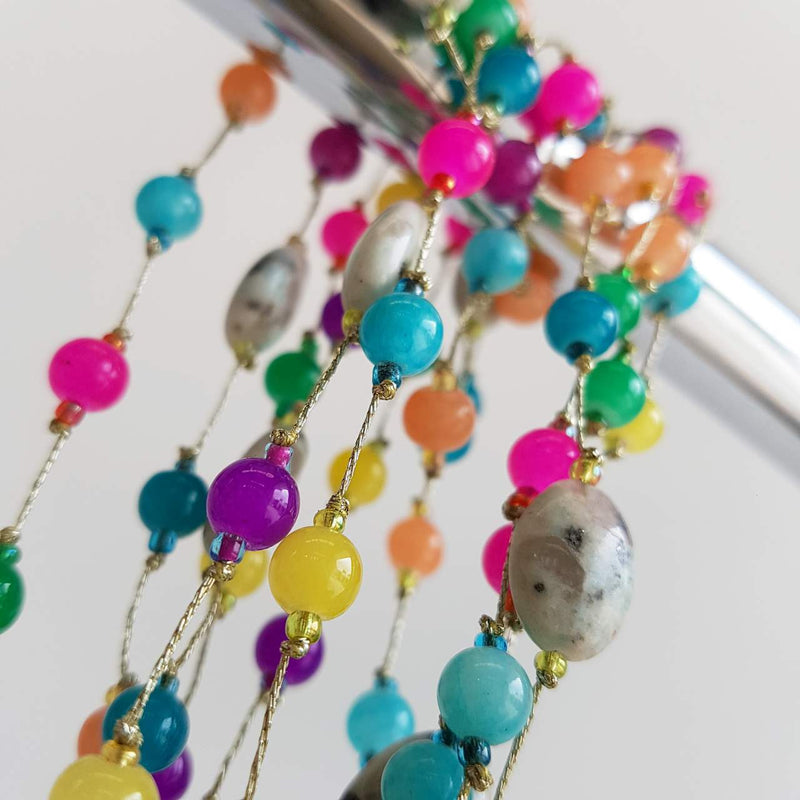 Ariel Moonstone Necklace with Fine Gold Chain + Multi Rainbow Beads.