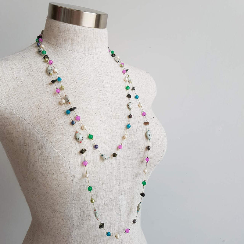 Ariel Moonstone Necklace with Fine Gold Chain + Multi Purple Grey Beads.