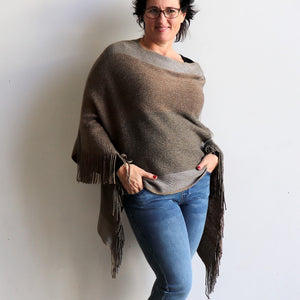 Aspen Poncho - Winter knitwear cape top for evening or daywear. Stone.