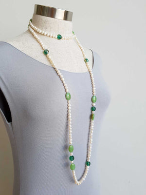 Atlantis Long Baroque Pearl Opera Necklace clear + coloured beads. Green.
