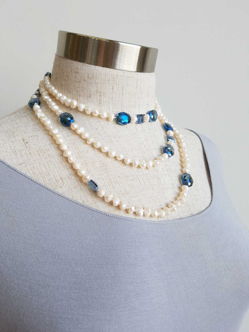 Atlantis Long Baroque Pearl Opera Necklace clear + coloured beads. Marine Blue.