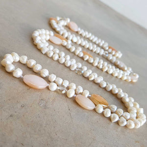Atlantis Long Baroque Pearl Opera Necklace clear + coloured beads. Peach.