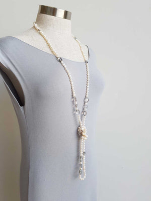 Atlantis Long Baroque Pearl Opera Necklace clear + coloured beads. Smoke.