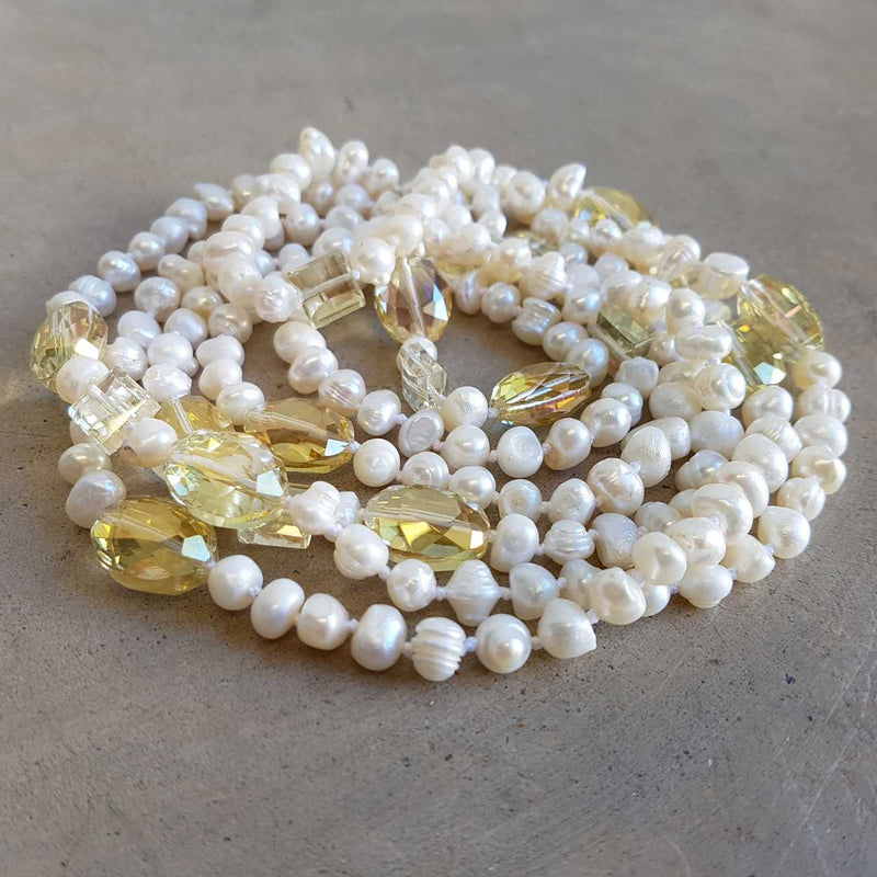 Atlantis Long Baroque Pearl Opera Necklace clear + coloured beads. Lemon.