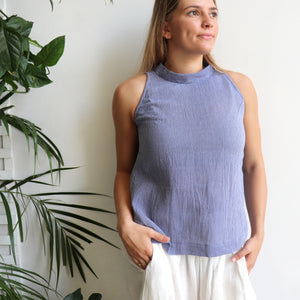 Womens sleeveless summer Tank Top made with 100% hand-loomed cotton. Blue.