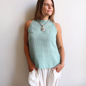 Womens sleeveless summer Tank Top made with 100% hand-loomed cotton. Sage.