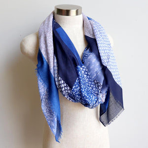 Autumn Skies Scarf manufactured from a soft and light cotton/poly.  Wonderfully oversized and measuring 180cm x 90cm. Chambray Blue.