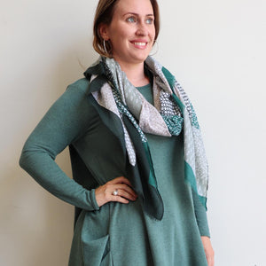 Autumn Skies Scarf manufactured from a soft and light cotton/poly.  Wonderfully oversized and measuring 180cm x 90cm. Emerald Green.