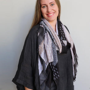 Autumn Skies Scarf manufactured from a soft and light cotton/poly.  Wonderfully oversized and measuring 180cm x 90cm. Midnight.