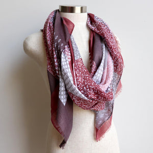 Autumn Skies Scarf manufactured from a soft and light cotton/poly.  Wonderfully oversized and measuring 180cm x 90cm. Wine Red.